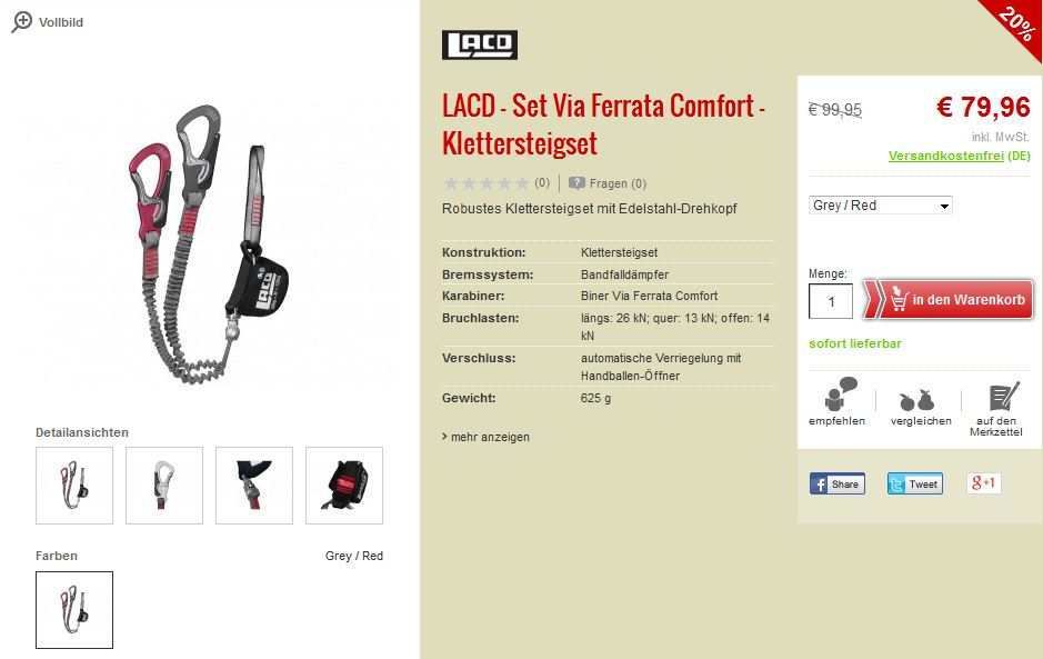 LACD Set Via Ferrata Comfort Evo Klettersteigset